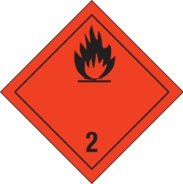 Flammable gases safety sign (red)